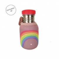 Botella Acero Personalizada Arco Iris Tapón Rojo