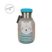 Botella Acero Personalizada Oso tapón azul