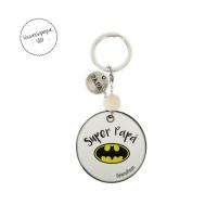 Llavero personalizado para Papá de madera con el logo de Batman