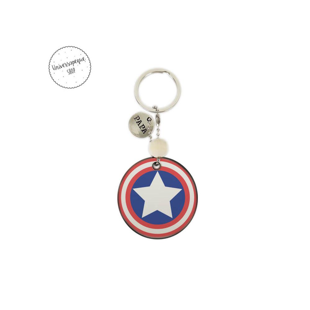 Llavero de madera Capitán América para Papá