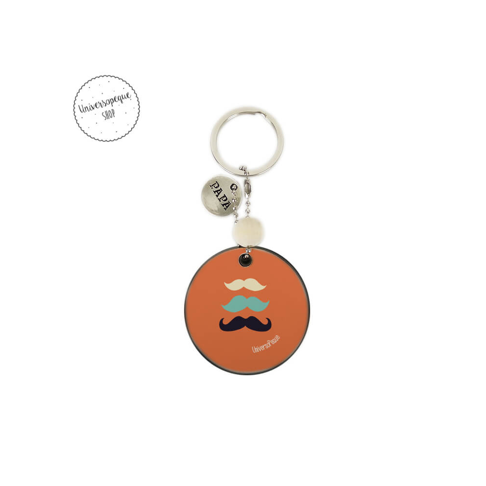 Lllavero de madera bigotes personalizado para Papi