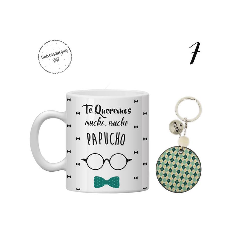 PACK AHORRO Papá Taza + Llavero gafas y pajarita