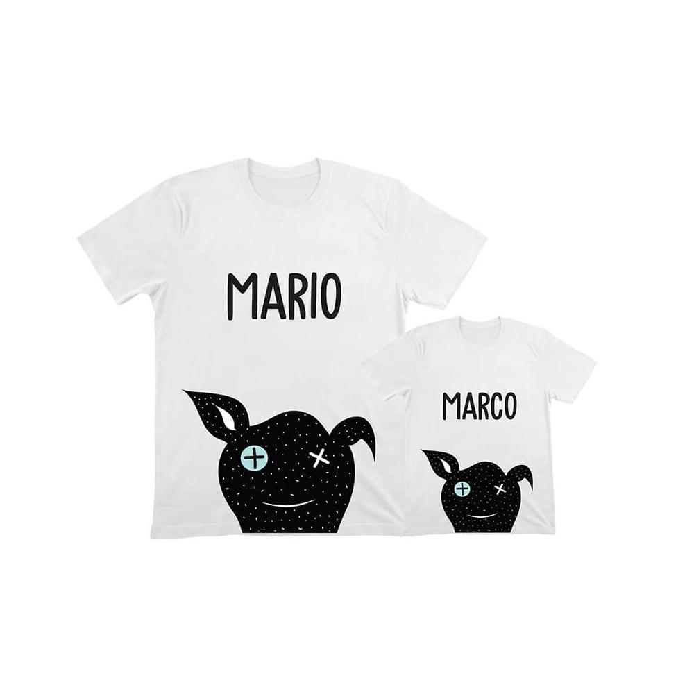 camisetas iguales perro para papa e hijo