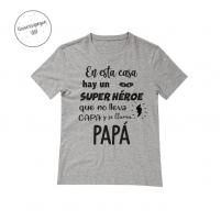 Camiseta Personalizada Super Héroe Gris