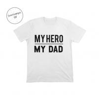 Camiseta Personalizada my hero,my dad blanca