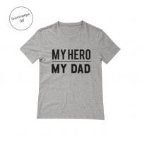 Camiseta Personalizada my hero,my dad gris
