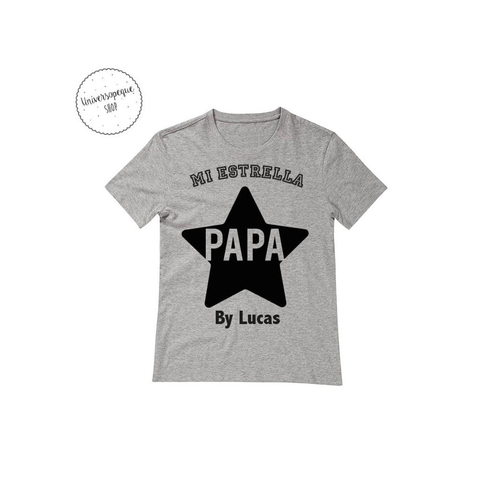 Camiseta Personalizada Papá Estrella gris para regalar a papá