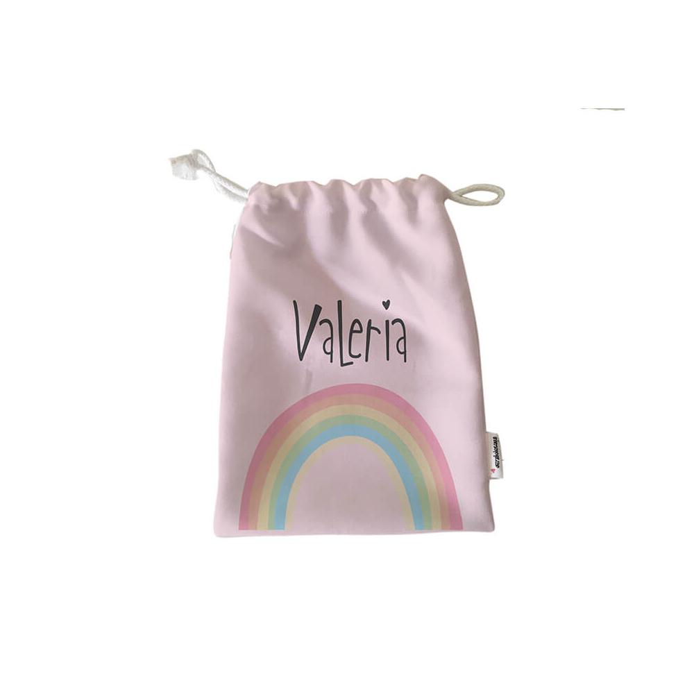 Pack Bolsas Merienda Personalizadas Arco Iris Rosa
