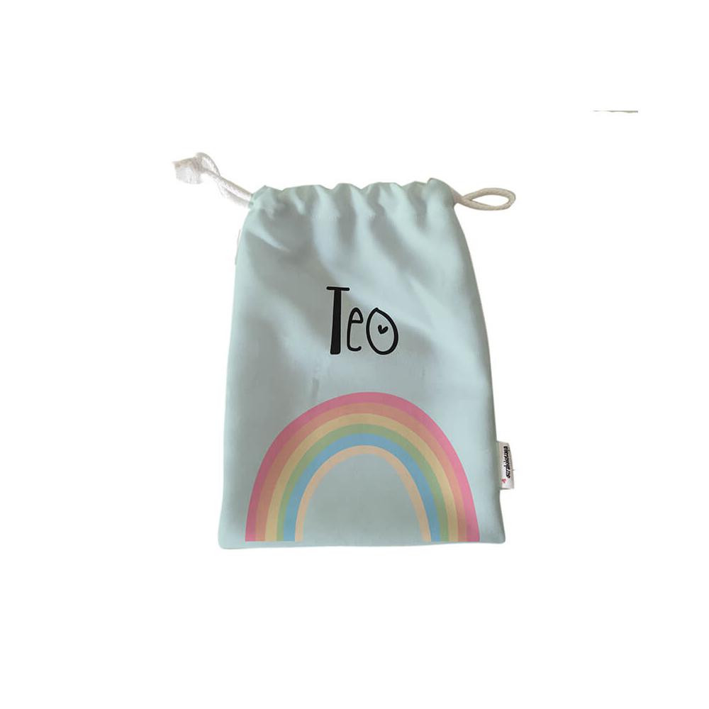 Pack Bolsas Merienda Personalizadas Arco Iris Verde