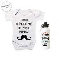 Pack Ahorro Papá Body más Botella Bigote. Ragalos para bebés y papis
