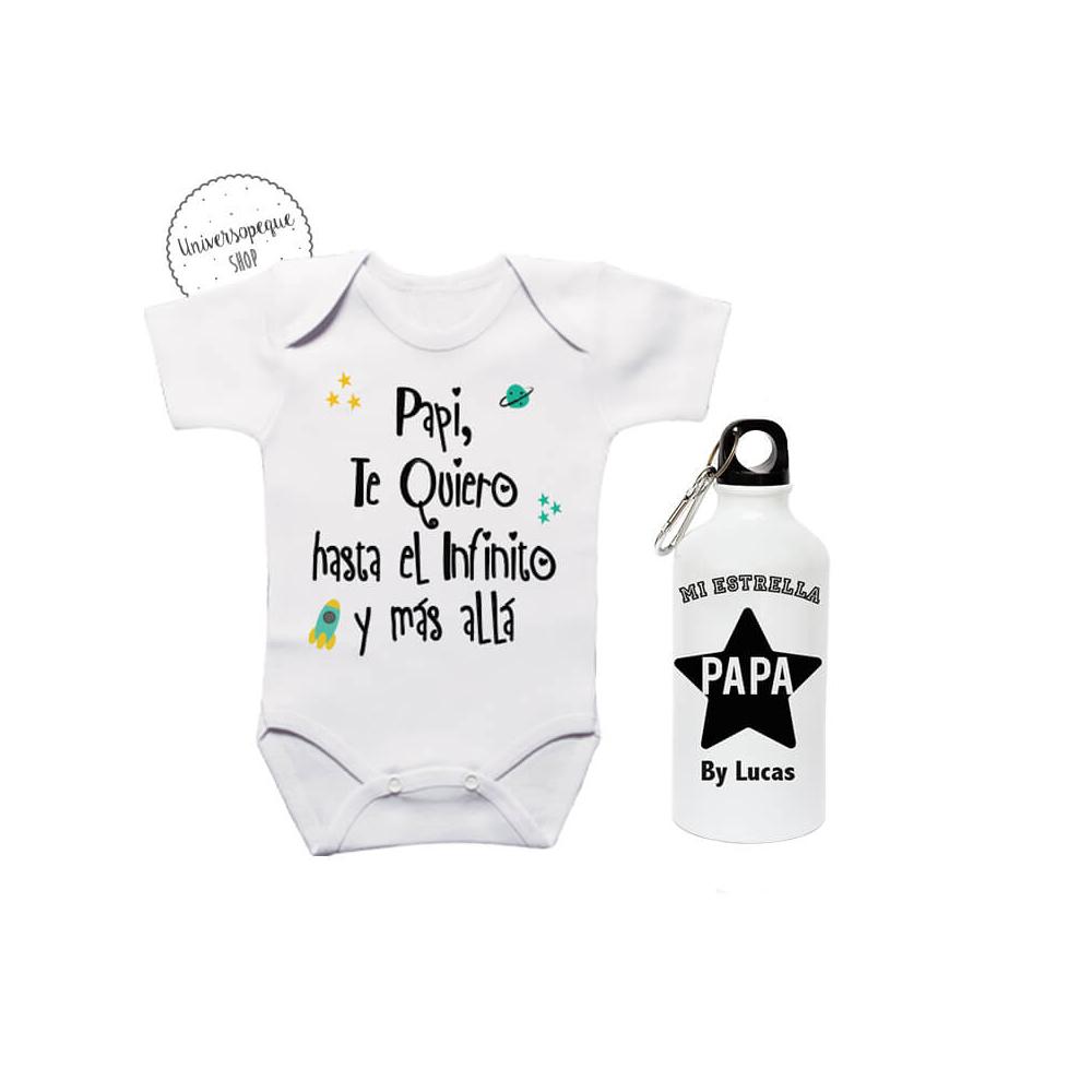 Pack Ahorro Papá Body más Botella Estrellas. Para bebés y papás