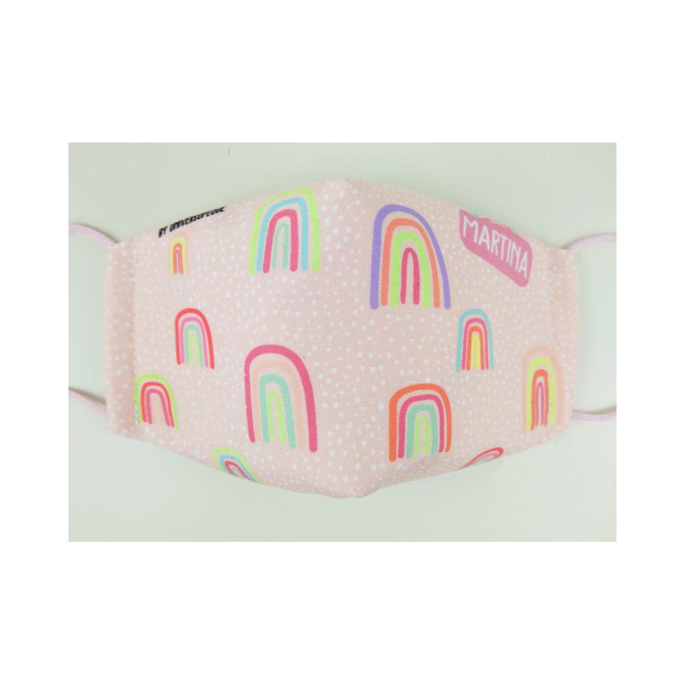 mascarilla infantil arco iris rosa para niños y adultos