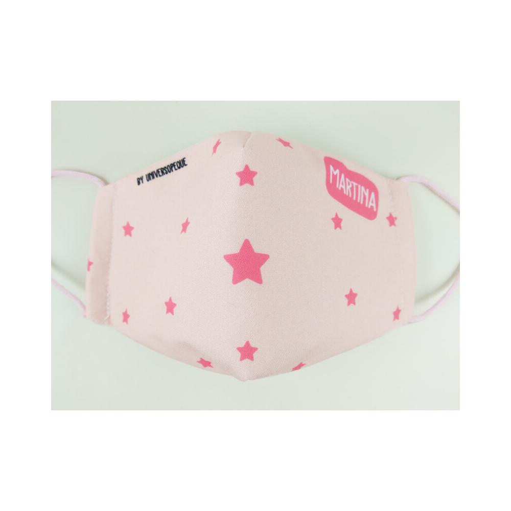 mascarilla estrellas rosa personalizada