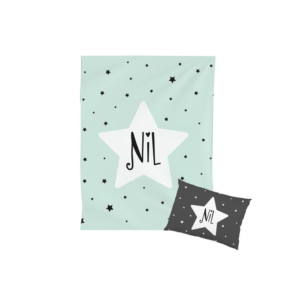 Manta Infantil Personalizada Estrella Mint