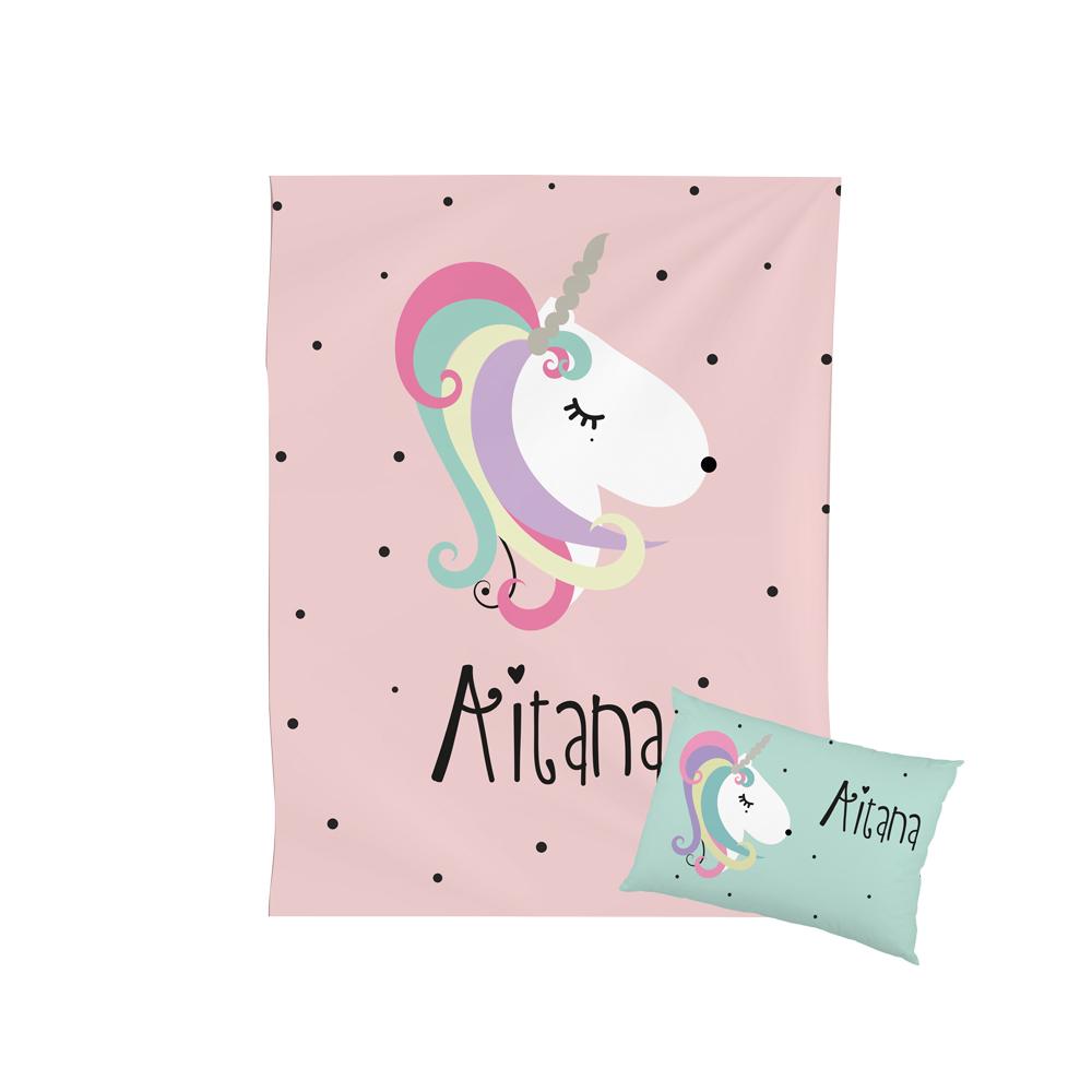 Manta con cojin unicornio
