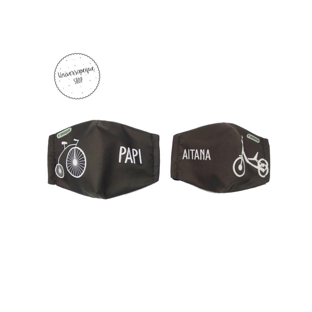 mascarilla personalizada bicicleta triciclo negro