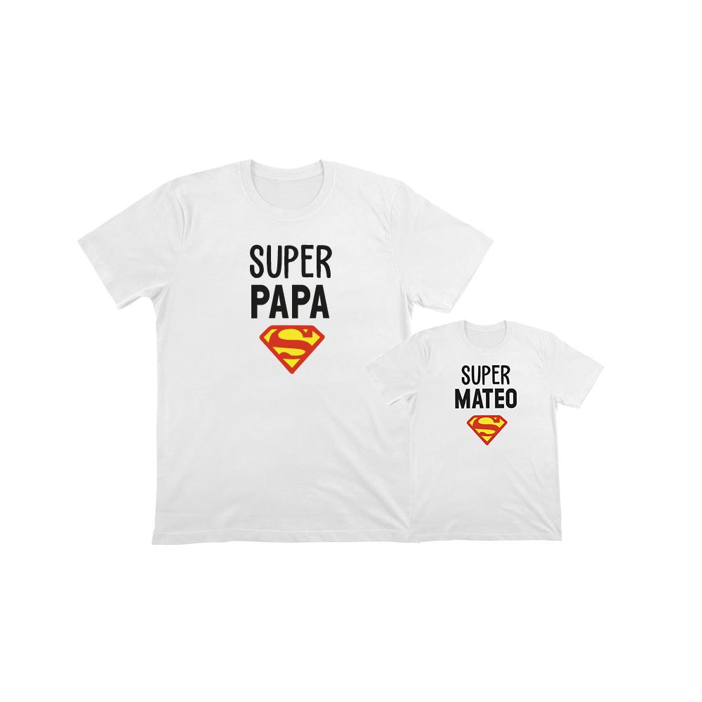 Camiseta personalizada superman para papi e hijo o hija