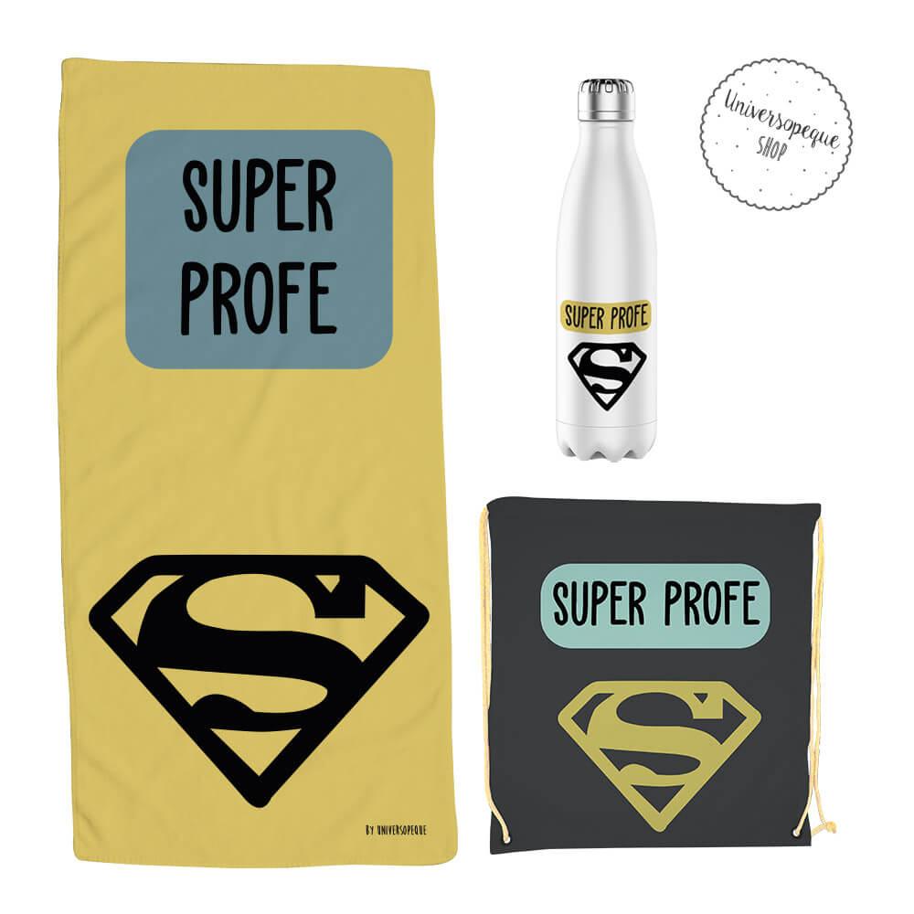 pack super profe compuesto de toalla, mochila y botella