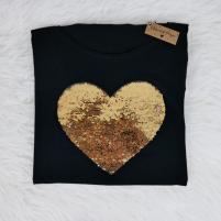 camiseta negra de lentejuelas reversibles personalizables