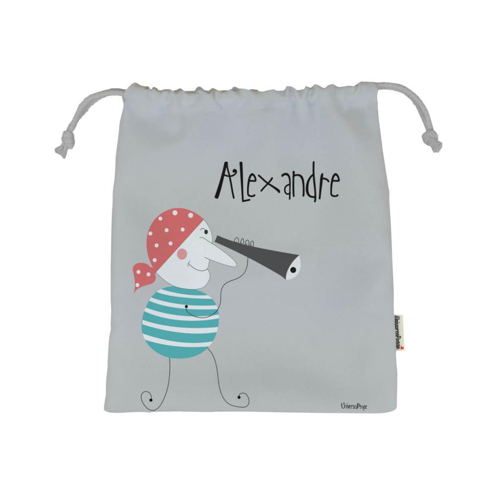 bolsa almuerzo personalizada con el dibujo de un pirata