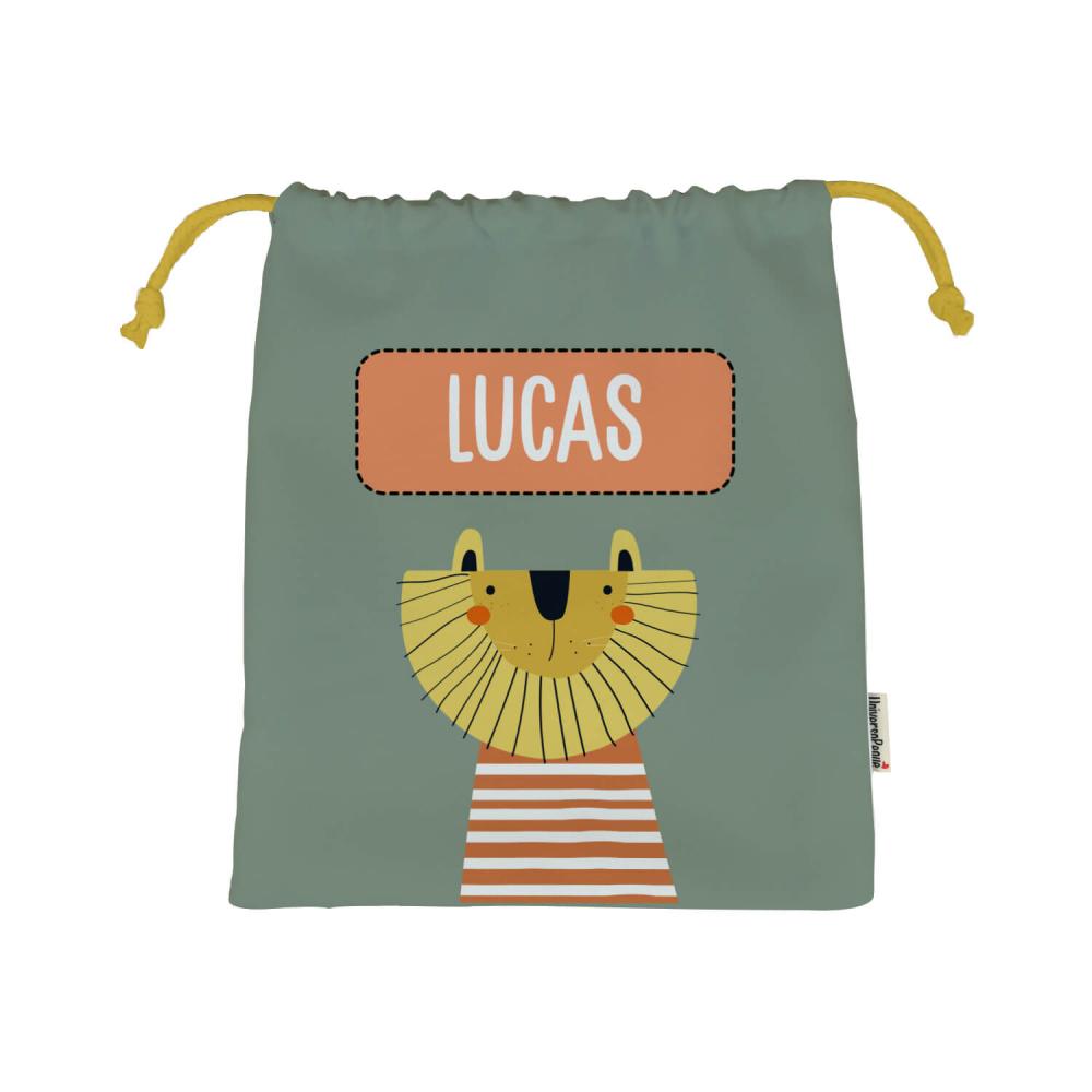 bolsa almuerzo personalizada leon fondo caqui