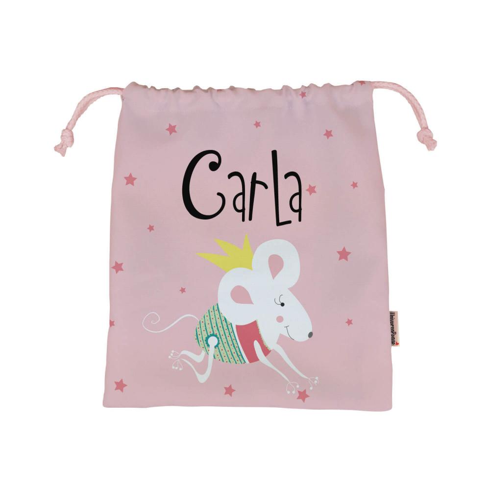 Bolsa almuerzo personalizada ratita fondo rosa