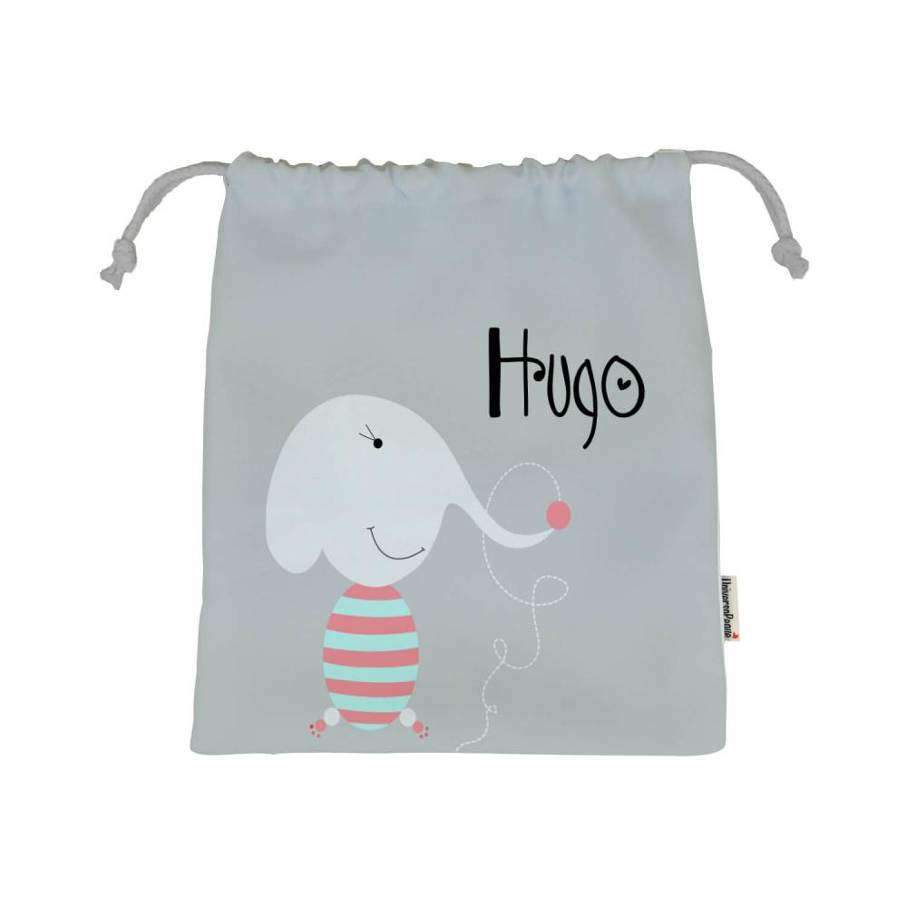 Bolsa Almuerzo Personalizada Elefante con fondo gris claro