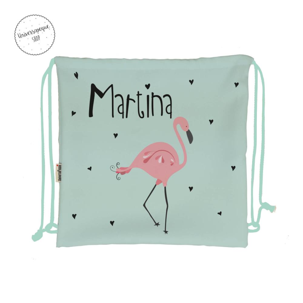 mochila guarderia personalizada flamenco rosa