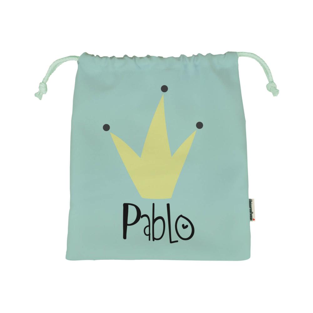 Bolsa almuerzo para el cole o guarderia personalizada con el dibujo de una corona amarilla