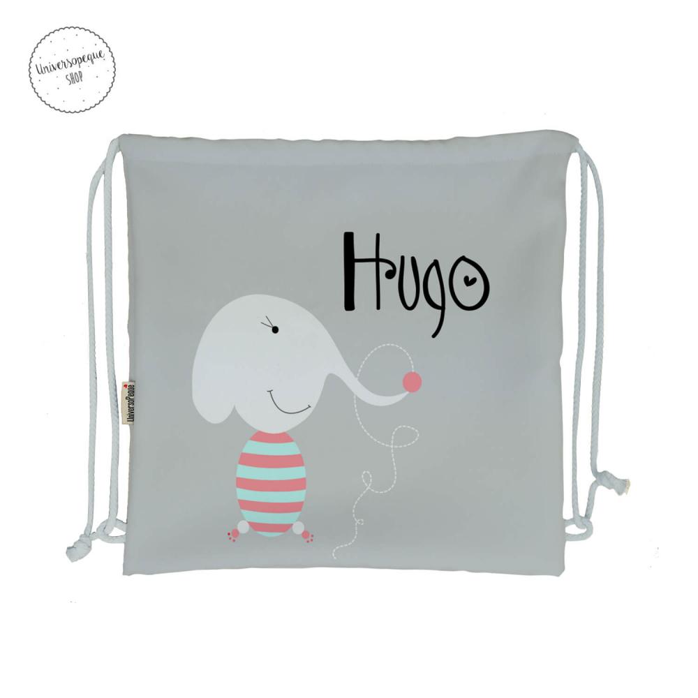 mochila para la guardería personalizada con el dibujo de un elefante