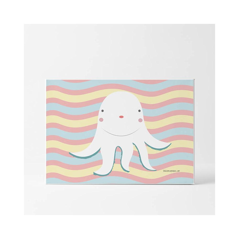 Lámina Infantil Animal Pulpo colores cuadro infantil unisex