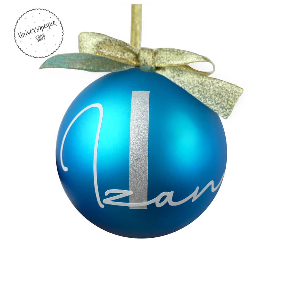 bola navidad personalizada azul
