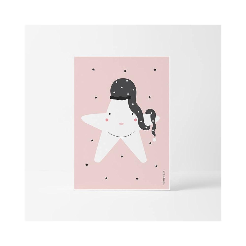 Lámina Infantil Estrella rosa cuadro decorativo Bebé o Niña