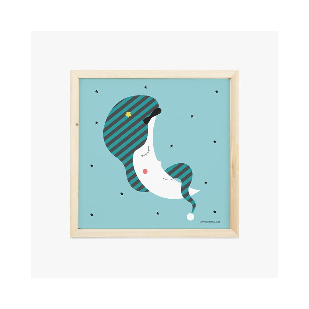 Lámina Infantil Luna Azul cuadro decorativo Bebé, Niño o Niña