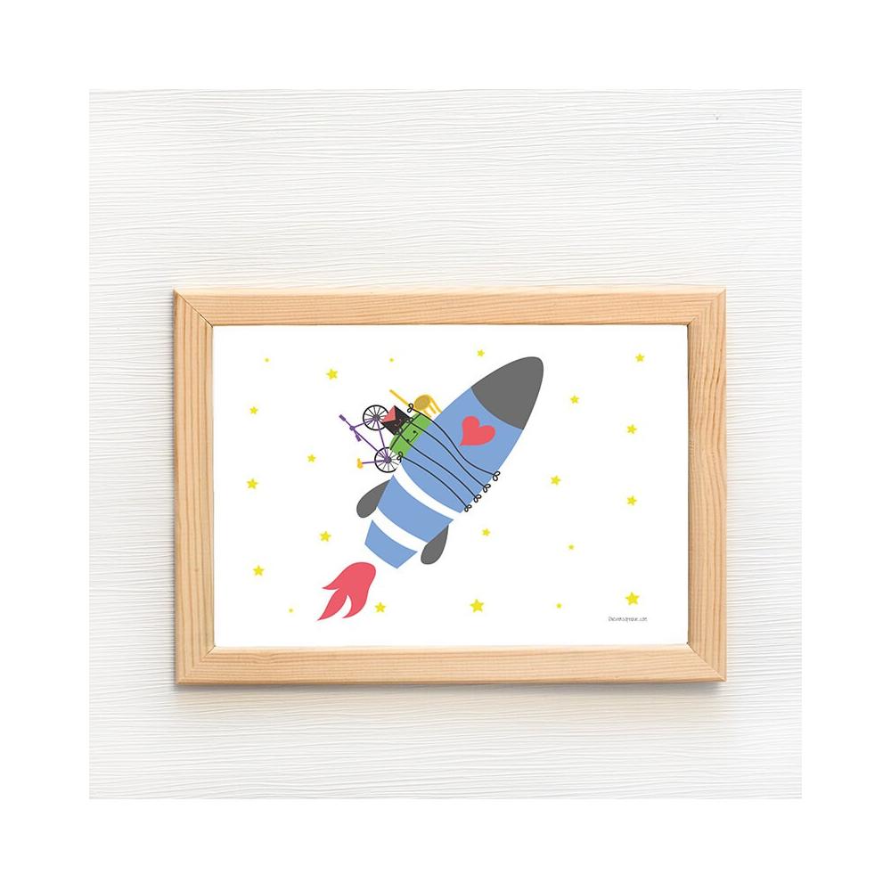 Lámina Infantil Mudanza Marte cuadro decorativo para niños