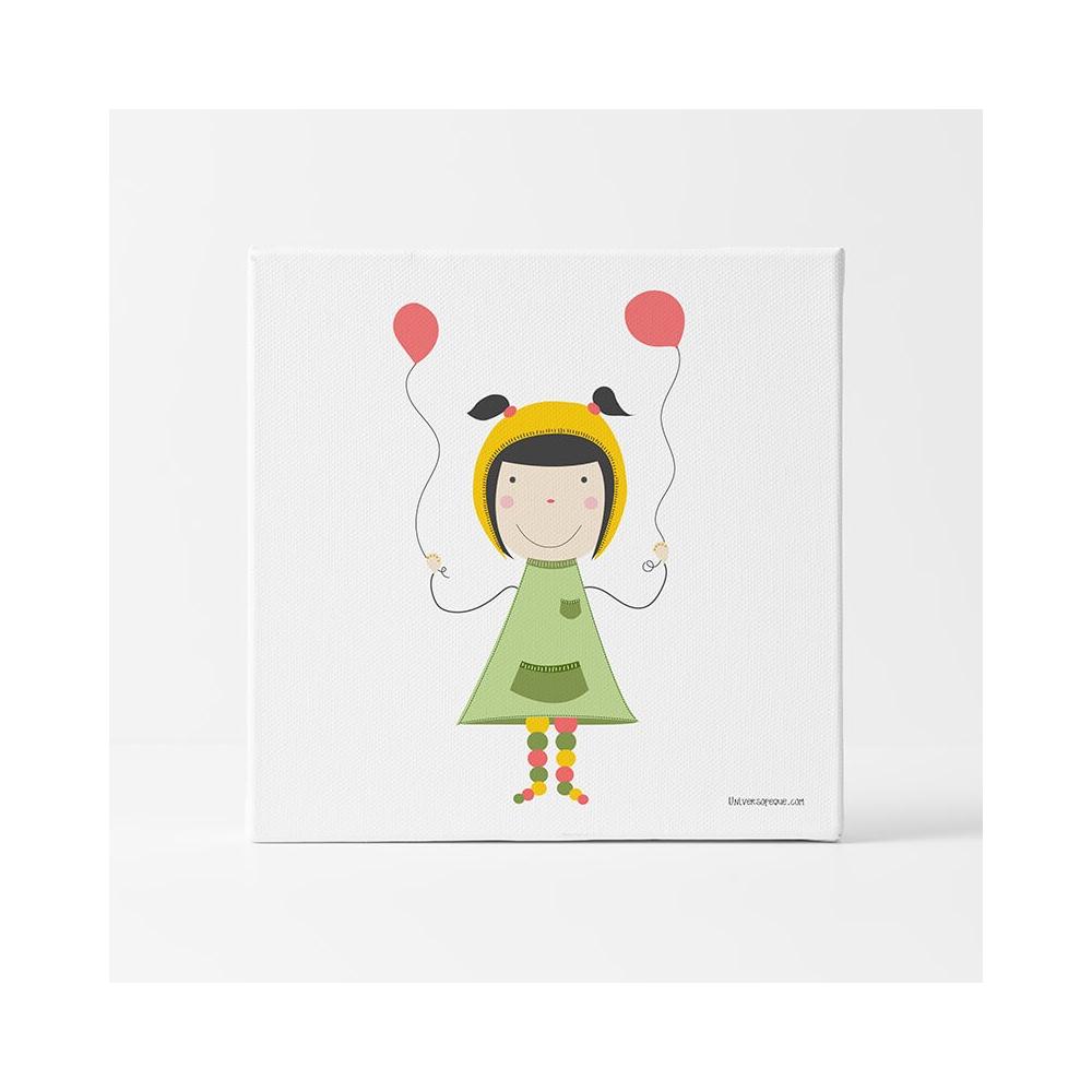 Lámina Infantil NIña con globos cuadro decorativo habitación Bebé o Niña