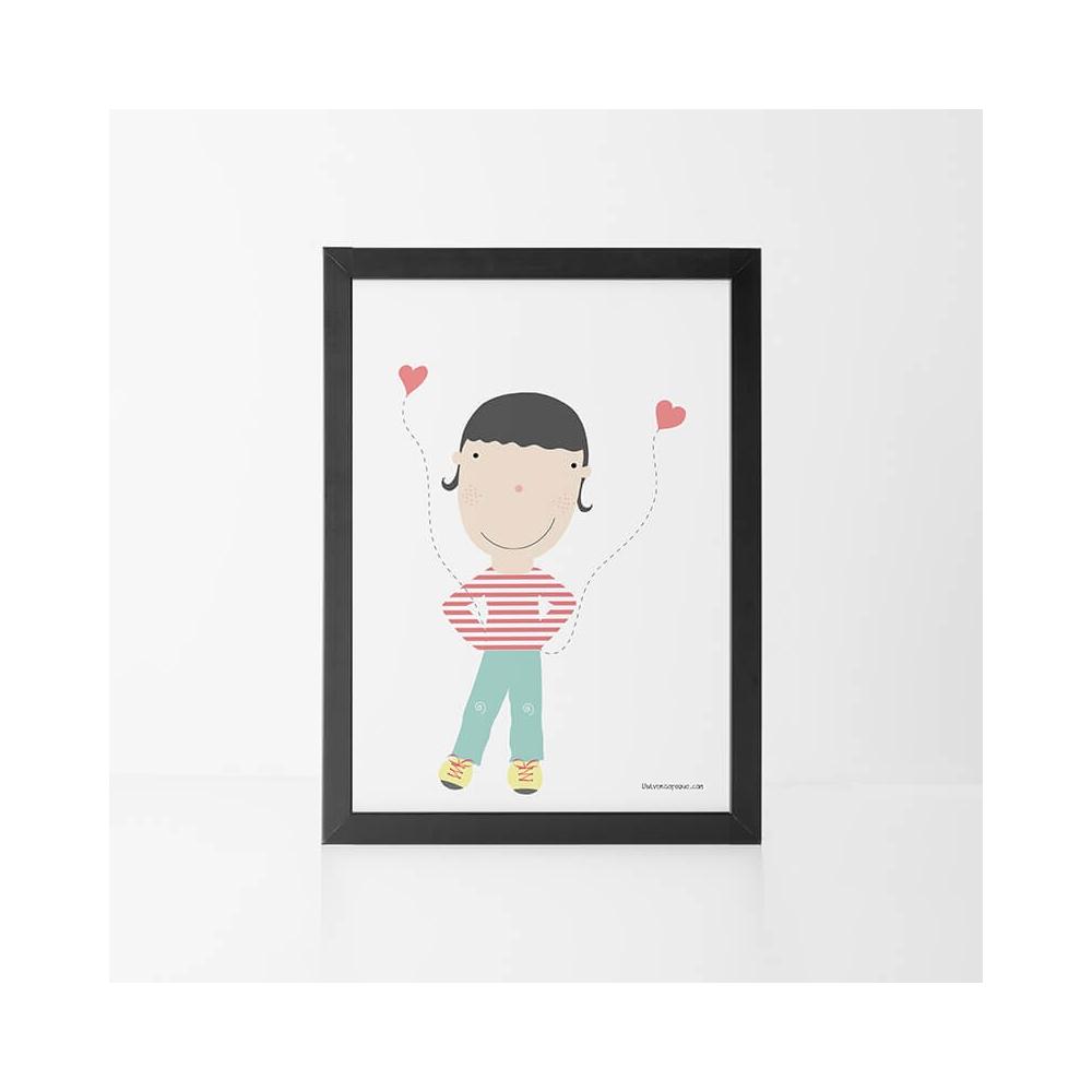 Lámina Infantil Niño con Corazones cuadro infantil decorativo para la habitación del Bebé o Niño