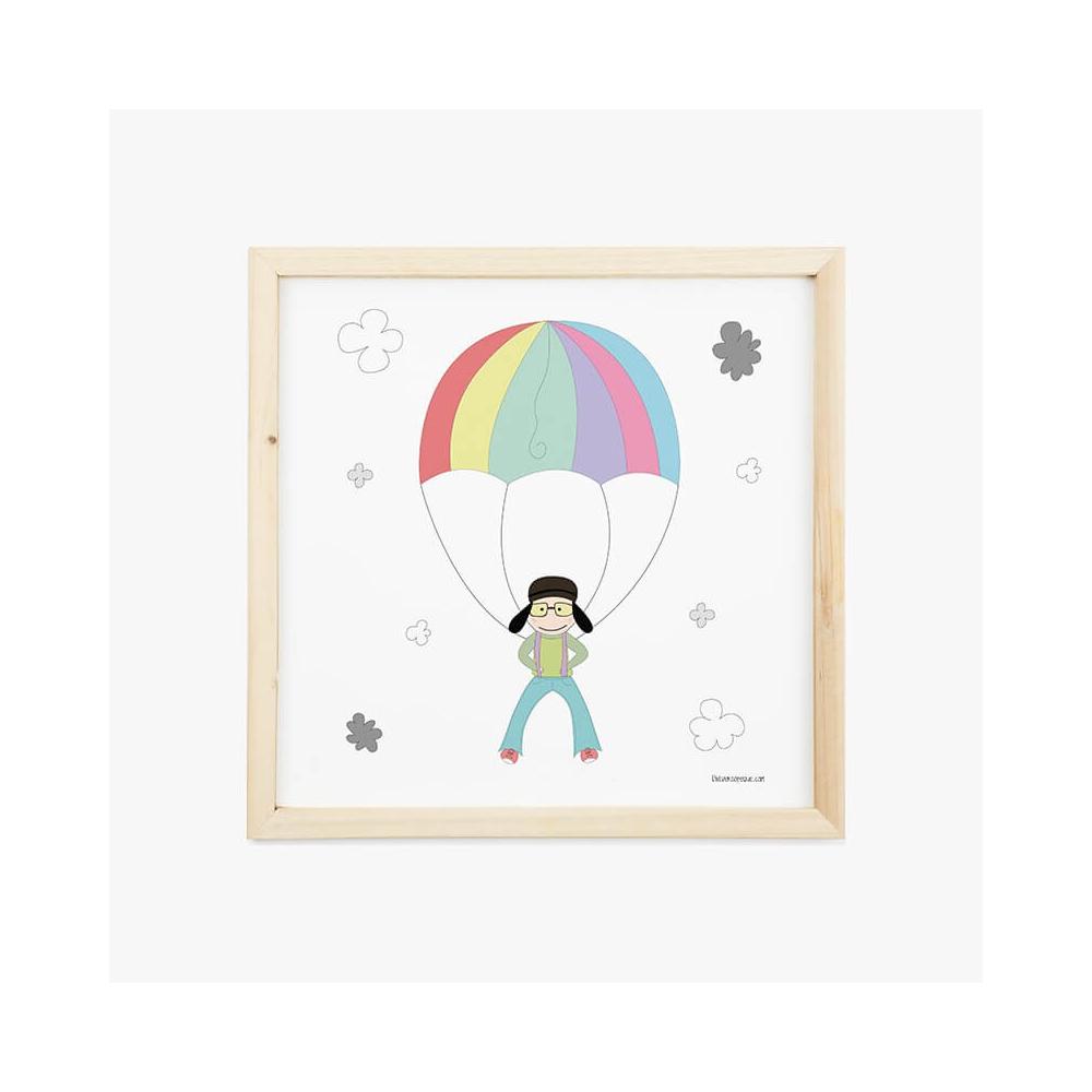 Lámina Infantil Niño Paracaídista cuadro decorativo para la habitación del Bebé o Niño