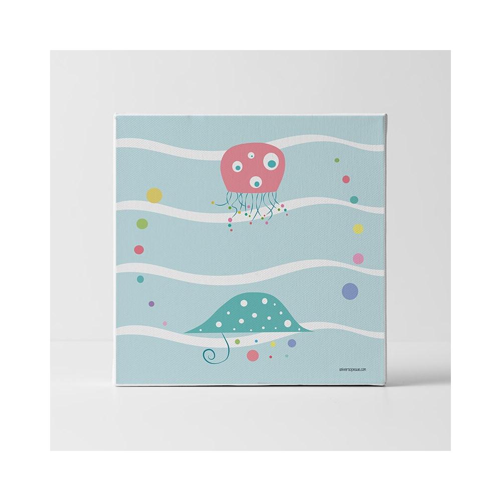 Lámina Infantil Pulpo en el mar cuadro infantil decorativo para la habitación del Bebé, Niña o Niño