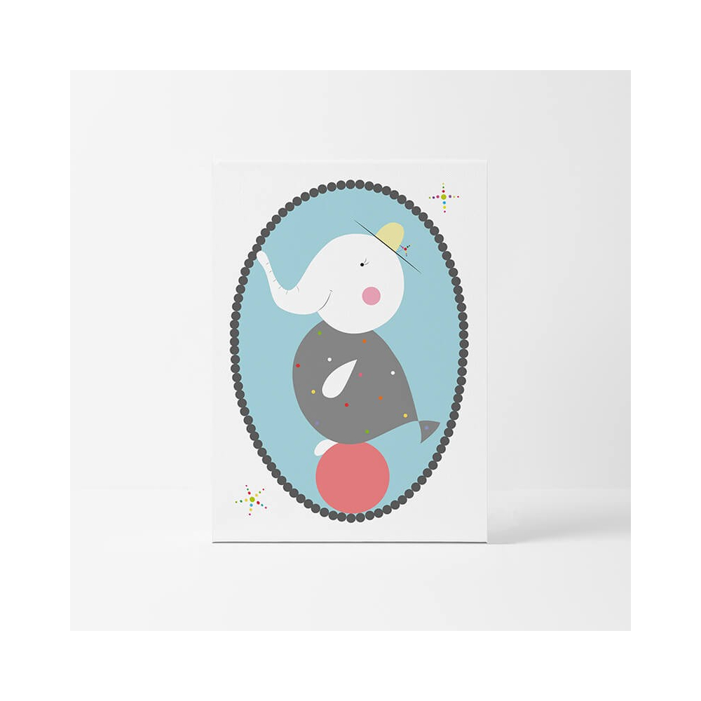 Lámina Infantil Elefante Pez cuadro decorativo para Bebés, Niñas y Niños