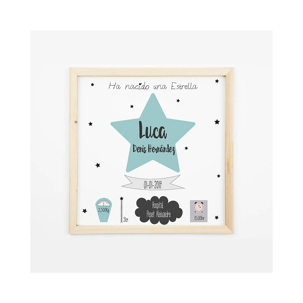 Natalicio Personalizado Estrella azul Regalos para Bebés decorativos