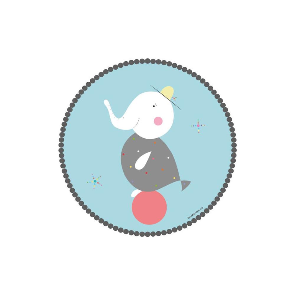 vinilo infantil animal elefante pez con pelota roja