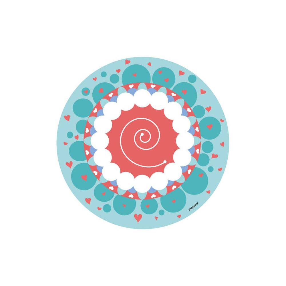 Vinilo Infantil Niña Mandala de color rojo, turquesa y blanco