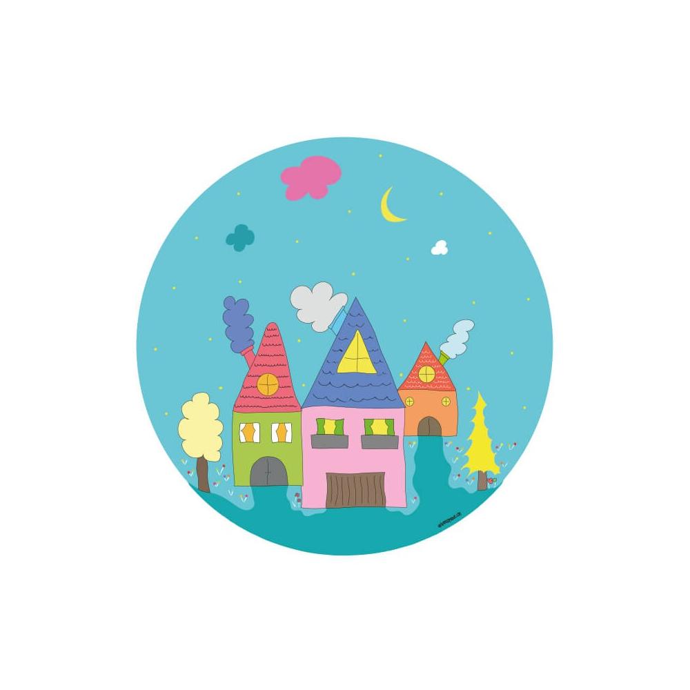 Vinilo Infantil Niño Casas es un vinilo decorativo para la habitación infantil.
