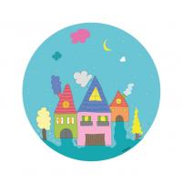 Vinilo Infantil Niño casas, vinilo decorativo de pared para la habitación del Bebé, Niño o Niña