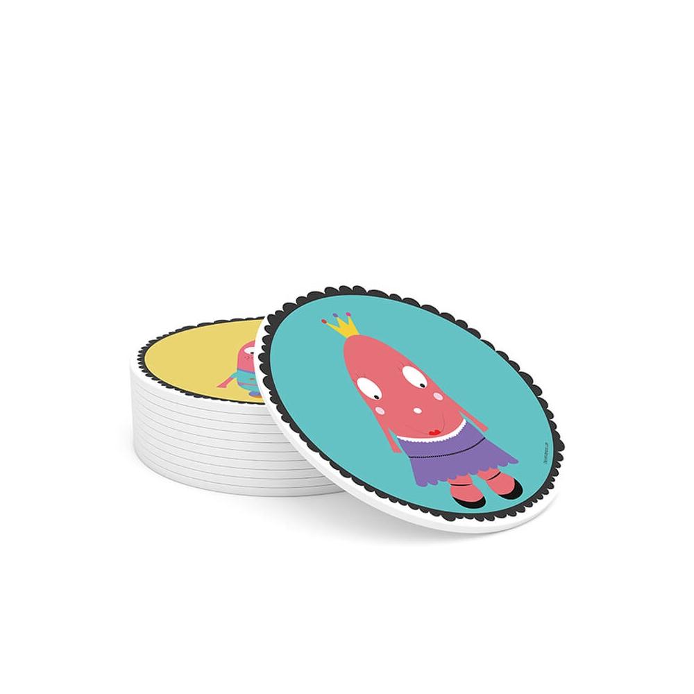Cuadro Redondo Ella, cuadro infantil color turquesa para Bebés y Niñas