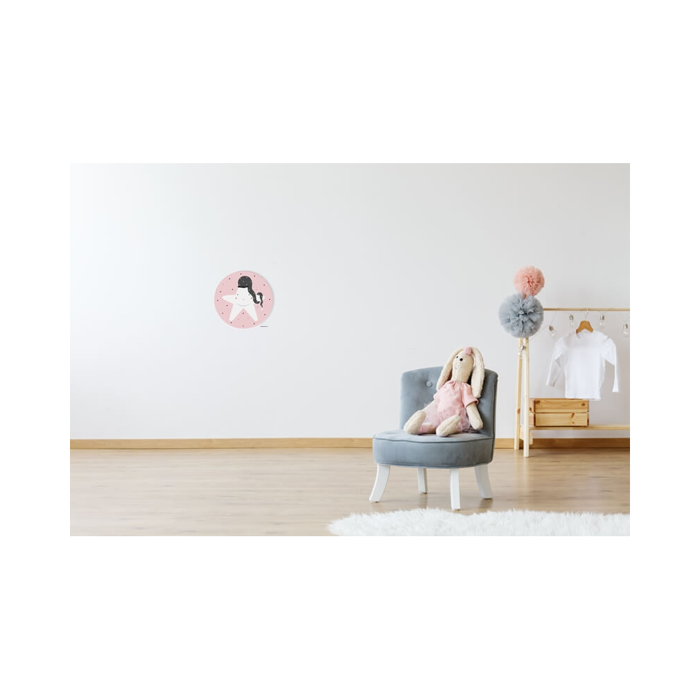 Cuadron Redondo Estrella, cuadro infantil de fondo rosa para decorar la habitación del Bebé o Niña