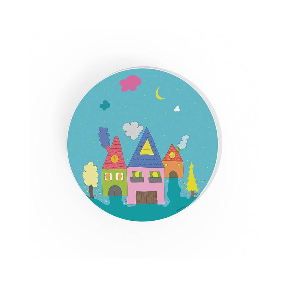 Cuadro Redondo Casas azul para la habitación infantil
