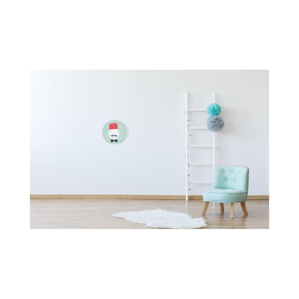 Cuadro Redondo Gentleman aguamarina para decorar la habitación del Bebé o Niño.